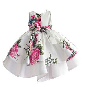 Image 2 - baby girls princess dress floral print wedding party dresses children clothes robe fille vetement enfant fille 2 7T