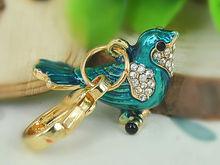 Birds Car Small Keyring Fashion Jewelry Women Bag Rings Key Crystal Rhinestone Charm Pendant Key Chain Gift moda 2015