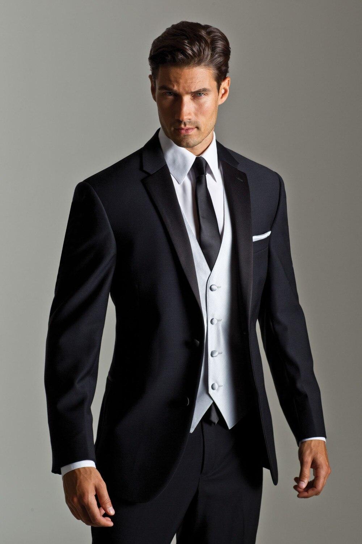 New Style Groom Tuxedo Groomsmen Black WeddingDinnerEvening Suits ...