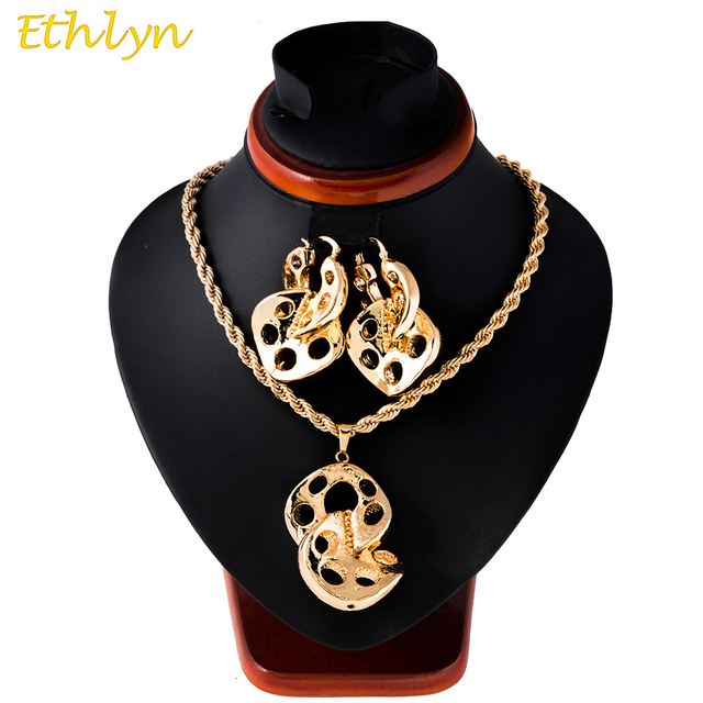Ethlyn 2017 Big Hoop Earrings Pendant Necklace Womens Jewelry Sets