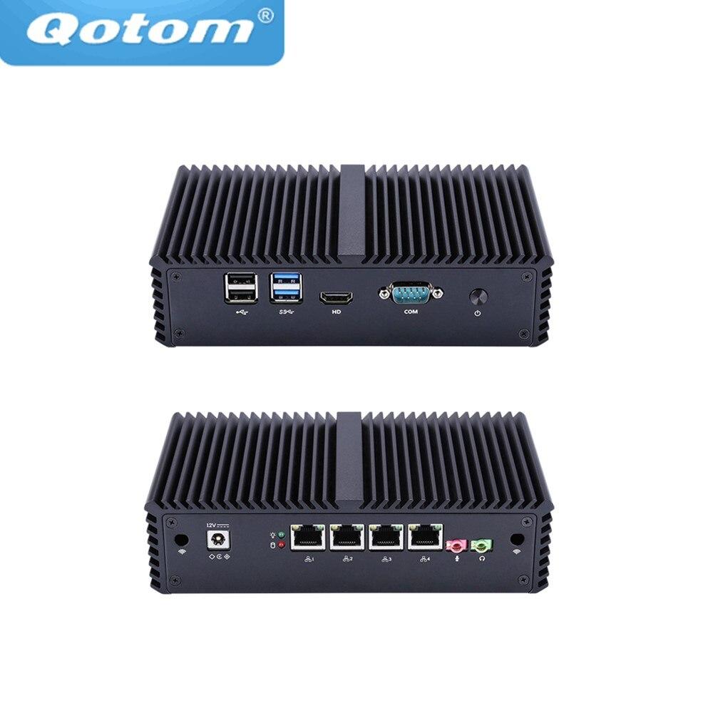 Livraison Gratuite! Mini PC sans ventilateur Celeron 3205U/Core i3/Core i5, 4 Lan Intel, utilisé comme routeur/pare-feu/Proxy/Point d'accès Wifi