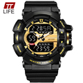 TTLIFE Men Multifuction Luminous Hand Sport Digital Quartz Watches Waterproof Repeater Multiple Time Zone LED Wristwatch 1436