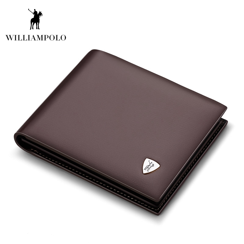WilliamPOLO Fashion Cow Leather Slim Wallet Small Wallet Designer Money Purse High Quality Leather Wallet Brown