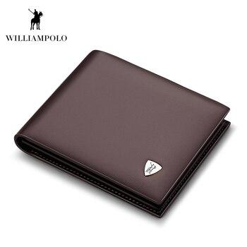 WilliamPOLO Thời Trang Da Bò Mỏng Nhẹ Ví Nhỏ Thiết Kế Tiền Ví Ví Da Cao cấp Nâu #147