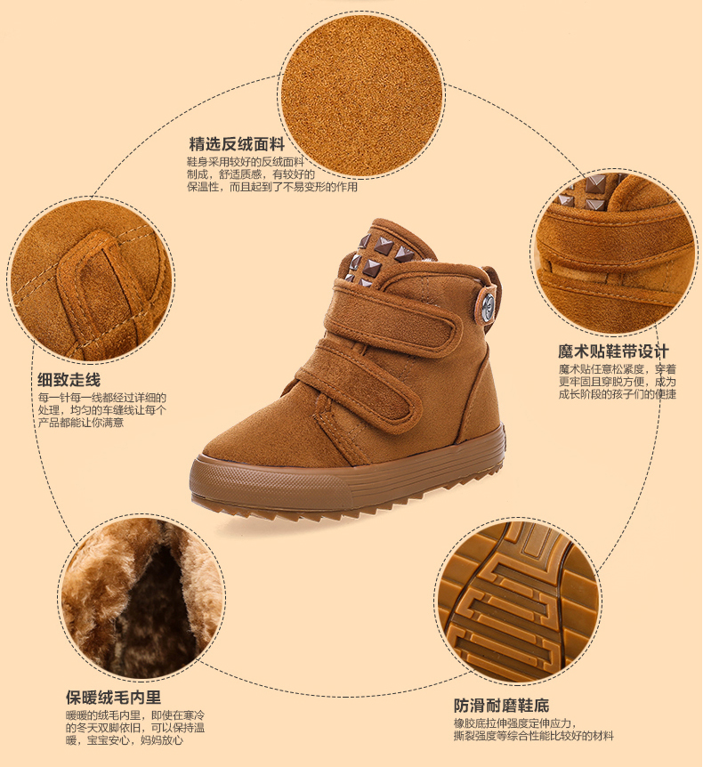 Russia winter Warm children Snow Boots girl and boy water-proof plush Boots outdoor Thickened baby cotton shoes kids sneakers