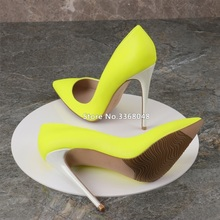 New Fashion Fluorescent Yellow Popular Woman Pointed Toe Pumps Shallow Thin High Heels Big Size Woman Stilletos Party Shoes original intention stylish women pumps cow leather pointed toe thin heels pumps fashion yellow green shoes woman us size 4 8 5