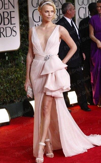 Sexy Celebrity Abito Profondo Scollo A V Charlize Theron Rosa Perla Vestito  ai Golden Globes Awards 2012 1ca214b2740