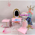 Free Shipping 4 Items Dresser Set Miniature Dollhouse Furniture for Barbie Doll Best Gift Toy for Girl