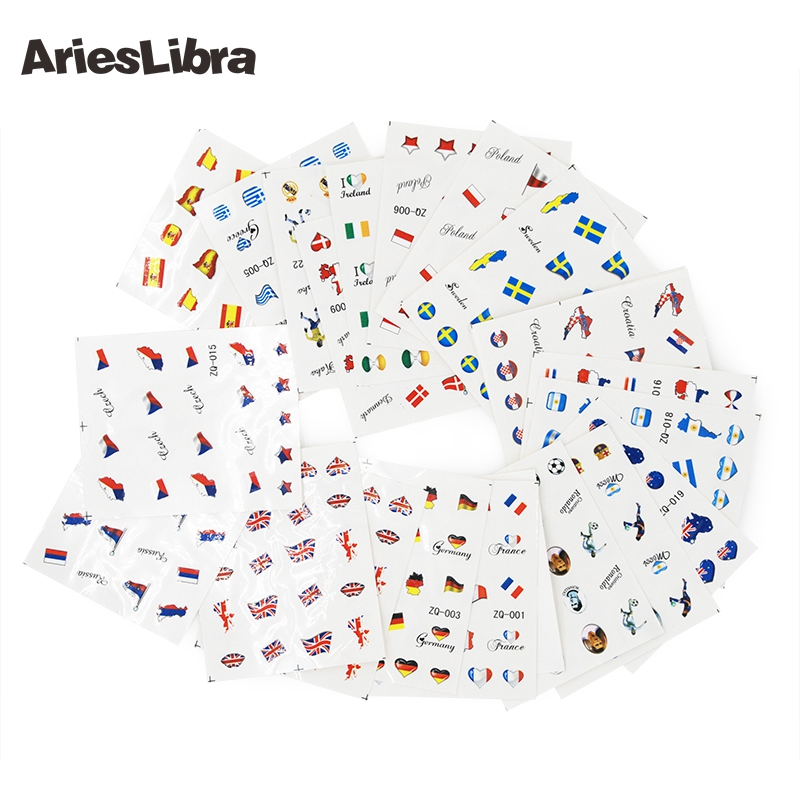 AriesLibra 50 Sheets/lot World Cup Series Manicure Water Transfer Decal Manicure Nail Mixed Design Sticker for Decoration Beauty zq 002 spain flag world cup water transfer nail sticker accessories football serie nail tattoo 22 different design
