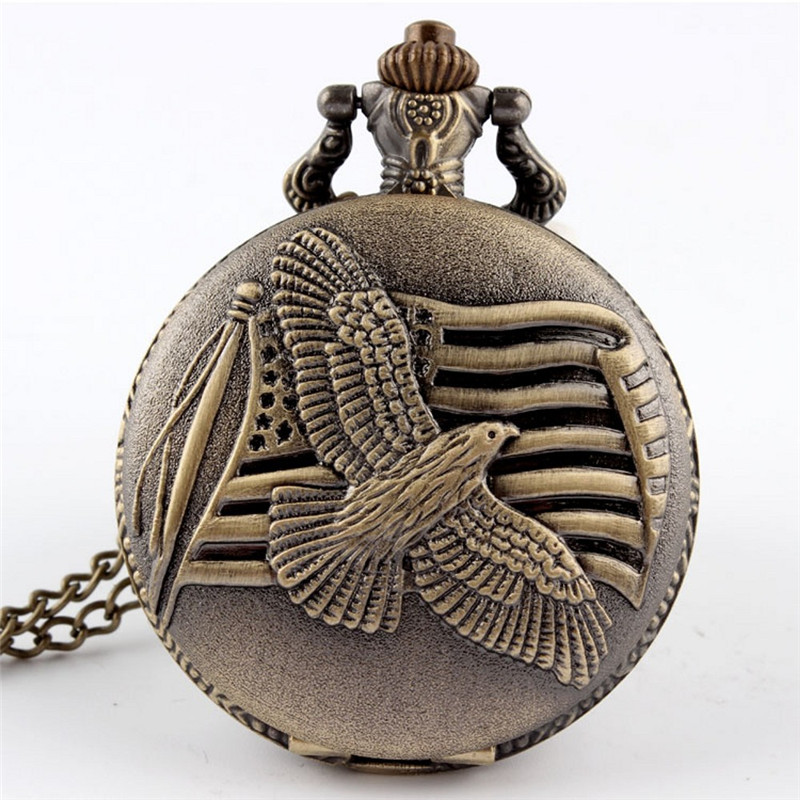 Vintage Bronze Dove Of Peace Pigeon Quartz Pocket Watch Necklace Pendant Men Gift P113