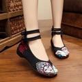 Big Size Fashion Chinese Style Beijing Opera Embroidered Flats Women Old Peking Flat Heel Canvas Casual Single Shoe SMYXHX-B0108
