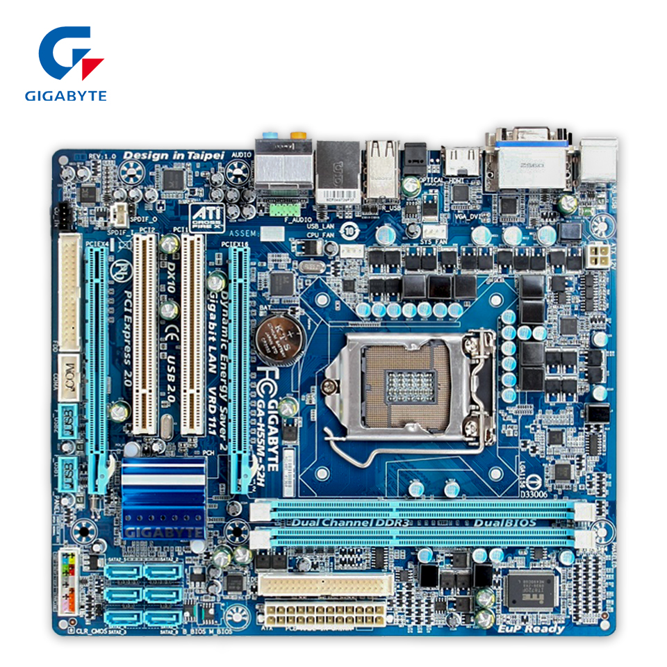 Original Gigabyte GA-H55M-S2H Desktop Motherboard H55M-S2H H55 LGA 1156 i3 i5 i7 DDR3 8G SATA2 Micro-ATX 100% Fully Test