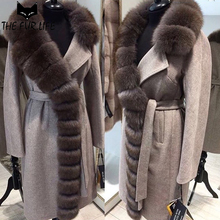 Luxurious Nature Silver Fox Fur Coats Warm Long Real Fur Collar Slim Fashion Woollen Jacket For Female Especially Winter Tops