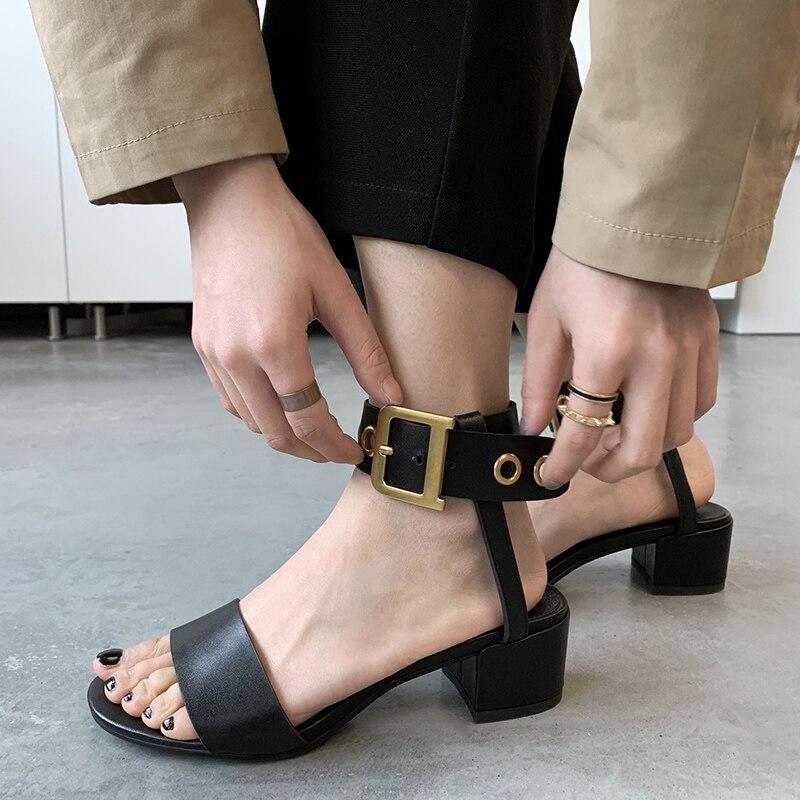 2019 г. Большие размеры 33 43, роскошные женские туфли из натуральной кожи на высоком каблуке женские повседневные летние сандалии из органичес...
