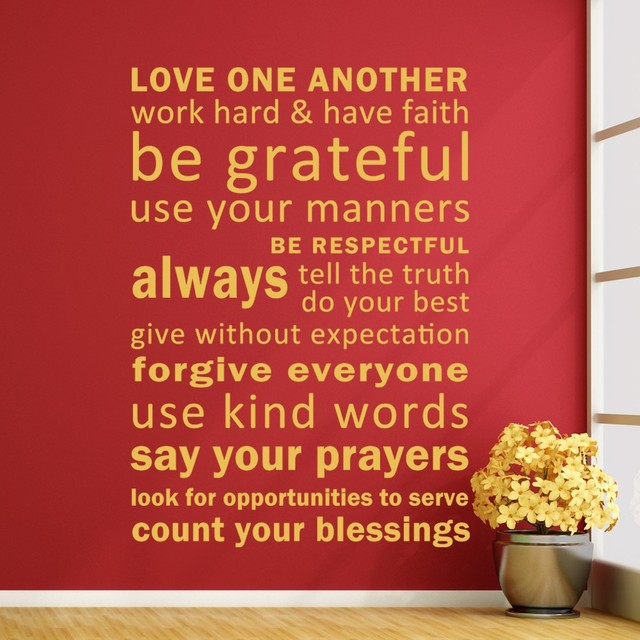 Love One Another, Have Faith, Be Grateful   Vinyl Inspirational Quotes Wall  Murals Word