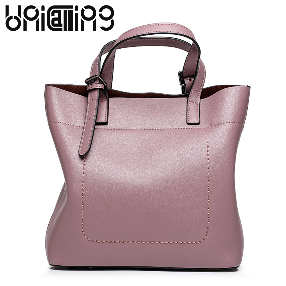 UniCalling Fashion brand ladies handbags European and American Style Large capacity cow leather shoulder bags Casual women bag teemzone top european and american fashion evening bag ladies genuine leather long style hasp note compartment wallet j25