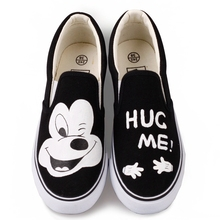 Canvas Shoes Women Black White Comfortable Cartoon Slip-on Casual Low Shallow Hand-Painted Lazy Student Platform Sneakers Flats