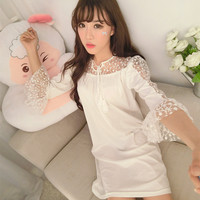 Princess Nightshirts Free Shipping 2016 Fashion Ladies Nightgown Hot Sale Cute & Sweet Half Sleeve Summer Lace Sleepwear Gifts