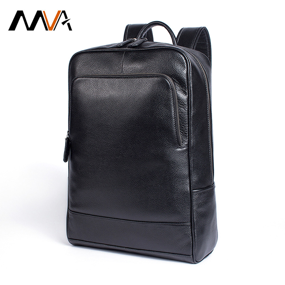 MVA Women Men s Backpack Genuine Leather School Bags Fashion Male Laptop Female Backbag Large Capacity