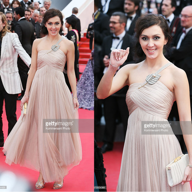 Katya Mtsitouridze 2015 Cannes Gala Red Carpet Celebrity Dress Crisscross  Ruched Beach Summer Strapless Low Back Chiffon Dress f8f6e8eb3242
