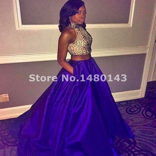 be4f554f4a 2016 Sexy Prom Dress Halter Off The Shoulder Beads A Line Royal Blue Crop  Top 2 Piece Two Piece Prom Dress Party Dress