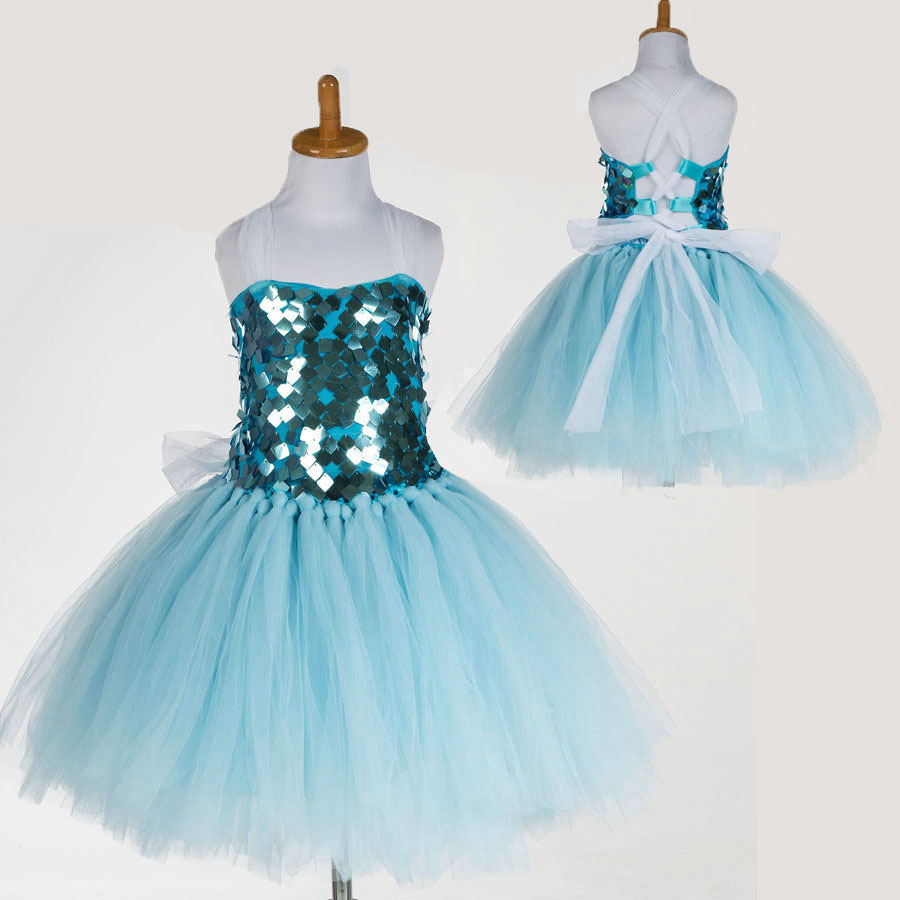 New Casual Toddler Kids Baby Girl Clothes Mini Tutu Wedding Party Girls Sequins Dress Tie Up Summer Blue Dresses