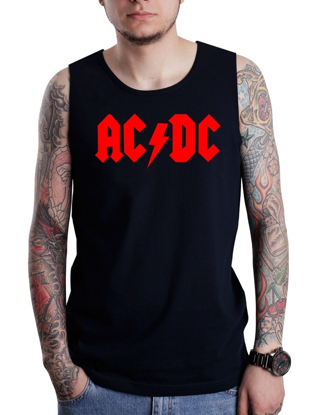 Mens Tank Top Rock Metal Band Red Logo Printed Black Sleeveless T