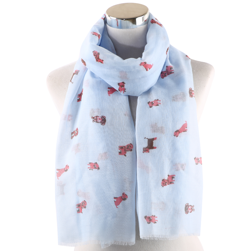 Women Fashion Ladies Dog Animal Printed Soft Chiffon Shawl Wraps Scarf Scarves