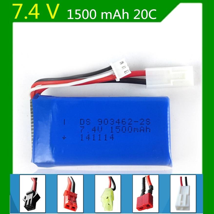 7.4V 1500mAh lithium polymer battery FT009 remote control boat speedboat FX067C battery 903462 SM,JST,Small Tamiya,EL2P,T Plug