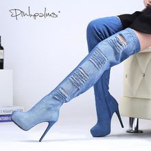Pinkpalms Spring Summer shoes women Denim High Heels Over The Knee Boots Comfortable women boots with Platform and Cut-out shoes