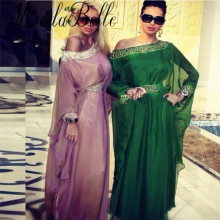 Abaya Dubai Chiffon Kaftans Long Sleeve Evening Dress Elegant Arabic Hijab Fashion Formal Gowns Abiye Gece