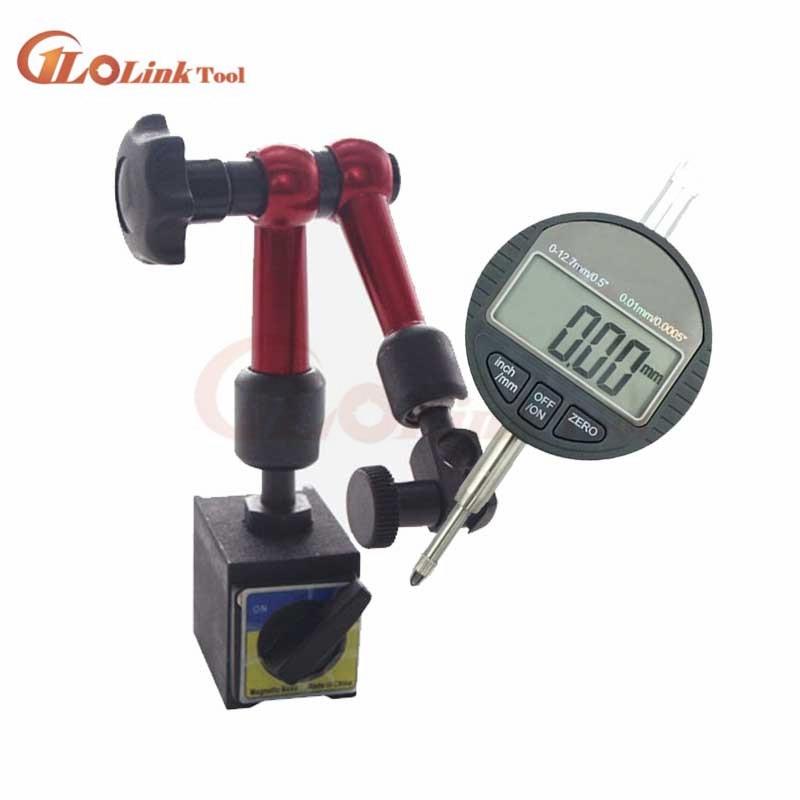 Digital Dial Indicator 0-12.7mm/0.5'' 0.01 With Mini Magnetic Base Holder Gauge Caliper Measuring Tools