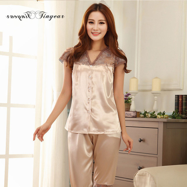 5a829d707 Tinyear new arrival women pyjamas short sleeve thin hollow out lace v neck  underwear set silk