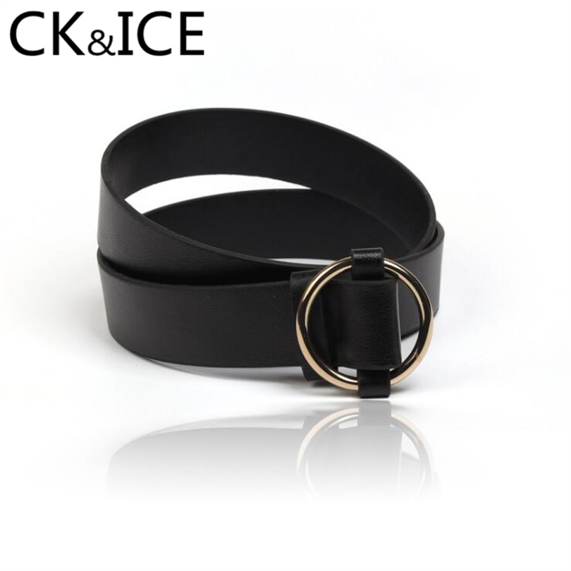 CK&ICE Metal Round Ring Smooth Belt Buckle Men Women Belts Casual Fashion Simple Black Leather Wear-Resisting Men Women Belts