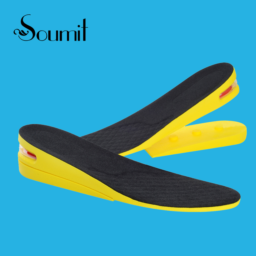 Soumit 2-Layer Adjustable Comfortable Invisible Height Increase Shoes Insoles for Men Women Sport Air Cushion Taller Insole Pads soumit 5 colors professional yoga socks insoles ballet non slip five finger toe sport pilates massaging socks insole for women
