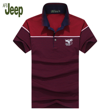 2017 AFS JEEP brand polo shirt men new arrival fine striped solid color short sleeves polo shirt casual polo shirt men 55