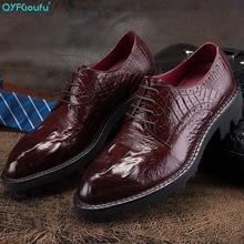 цена на Fashion Mens Dress Shoes Genuine Leather Pointed Toe Men Formal Oxford Flat Lace-up Crocodile Pattern Wedding Shoes