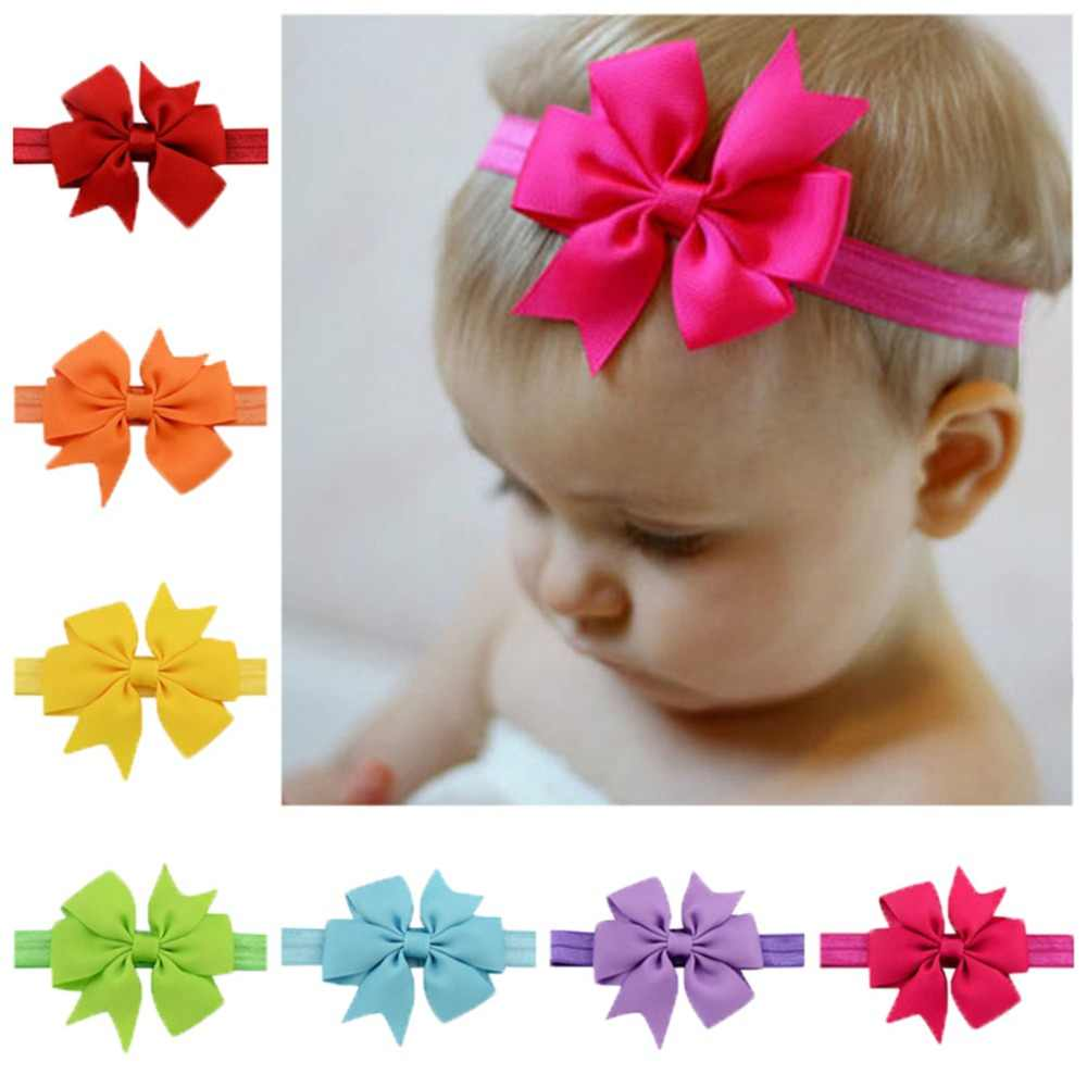 1Piece Baby Headbands Headwear Girls Bow Knot Hairband Head Band Infant Newborn Bows Toddlers 567