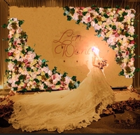 2pcs/lot big size 1.2M x 1.2M Artificial silk rose flower wall flower backdrop Wedding Decoration