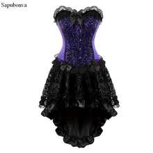 Sapubonva victoriaans corset jurk gothic cosplay kostuum halter corset sexy vintage corset bustier rok mode plus size paars