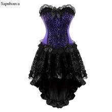 Sapubonva victorian corset dress gothic cosplay costume halter corset sexy vintage corset bustier skirt fashion plus size purple