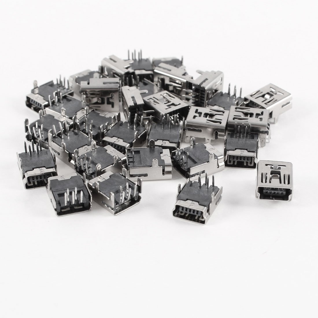 30 Pcs Mini USB Type B Female Socket 5-Pin Right Angle DIP Jack Connector
