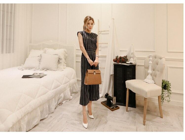 2018 Korean Summer Temperament Sleeveless Two Piece Set Stripe Fashion Wide Legging 2 Piece Set Women 9