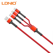 все цены на LDNIO 3 In 1 USB Cable For Mobile Phone Micro Lightning Type C Plug Data Transfer Line Quick Charge USB Cord Adapter Connector онлайн