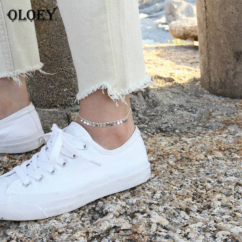 OLOEY Genuine 925 Sterling Silver Wafer Anklets for Women Leg Chain Anklet Bracelet Barefoot Sandals Beach Foot Jewelry YMA041