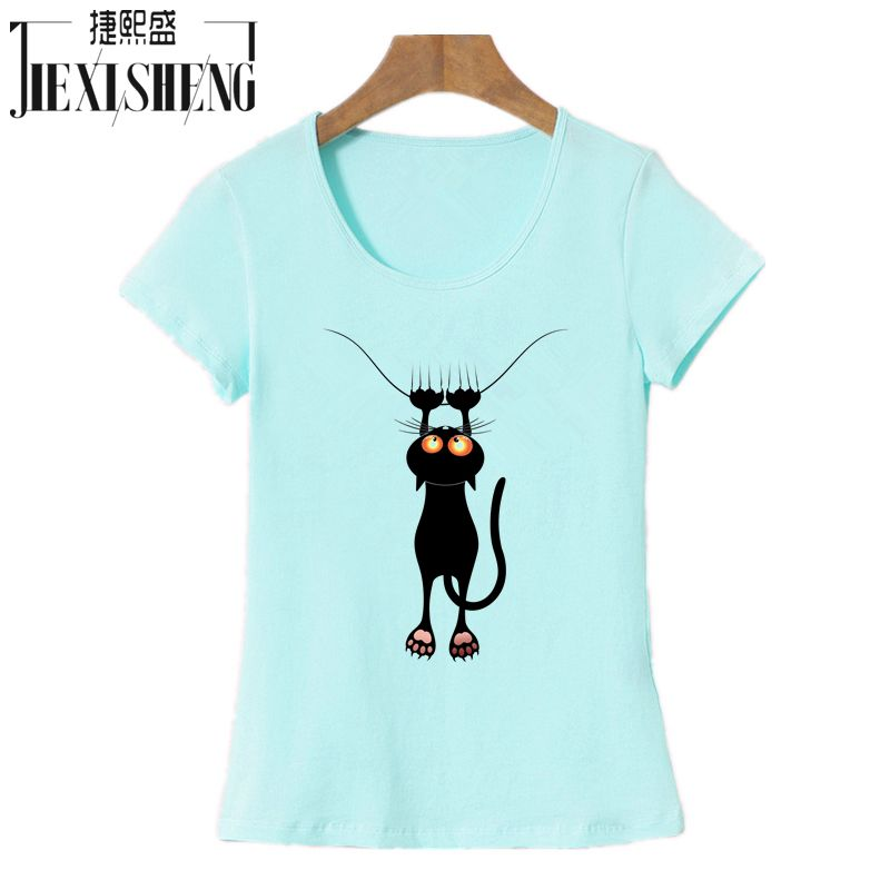 2017 Fashion Kawaii T Shirt Women Summer Tops Casual Cotton 3D Cat Print And Short Sleeve O-neck Vogue Tshirt
