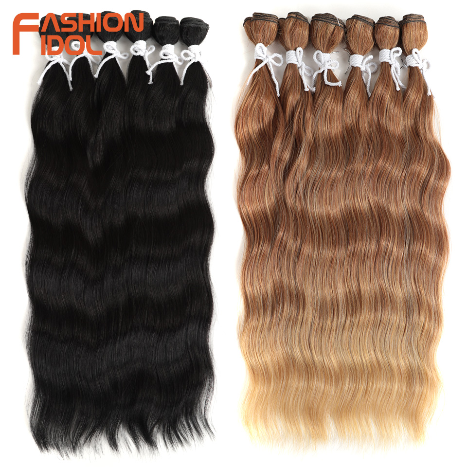 FASHION IDOL Water Wave Hair Bundles Synthetic Hair Extensions Ombre Blonde Hair Weave Bundles 6Pcs/Pack 20 inch Free Shipping(China)