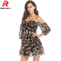 Sexy Casual Women Off Shoulder Embroidery Summer Dress Bandages Backless Bodycon Strapless Mini Nightclub party Dresses Vestido