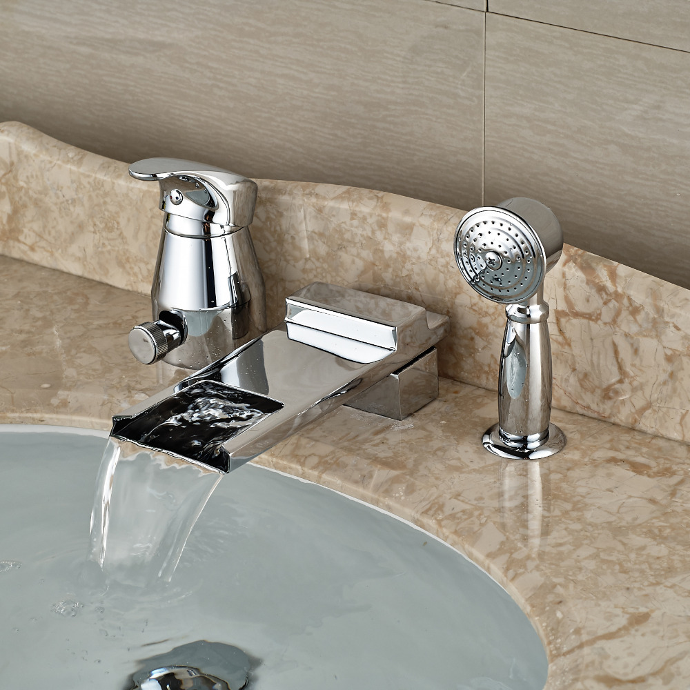 Luxury Bathroom Tub Mixer Faucet Deck Mount Waterfall Spout Chrome Finish with Handshower