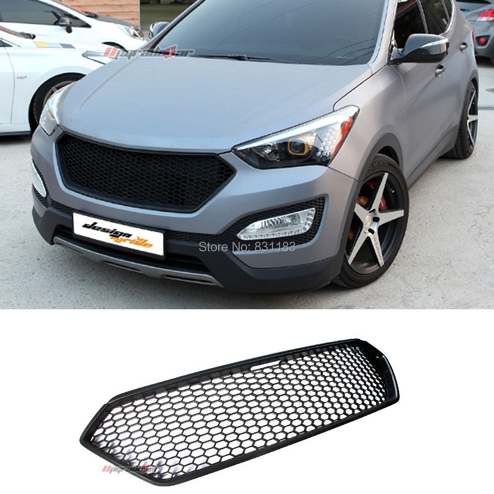 black radiator grill front hood for 2013 hyundai santa fe sport only made in korea in spoilers. Black Bedroom Furniture Sets. Home Design Ideas